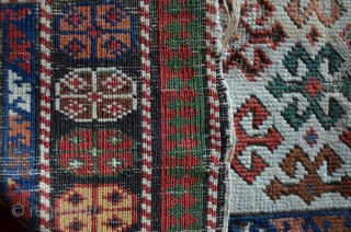 White ground Shirvan prayer rug, as found condition with home made repair on the lower end. .Stunning field composition. 148 x 81 cm