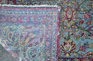 "Small antique Kirman ""Vase"" carpet with turquoise ground color, 127 x 184 cm, very fine executed scrub & palmette design"