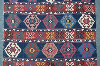 Shahsavan Kilim, 296 x 198 cm, there are some old repairs and little damages on the sides. A bright and and well composed example of this type.