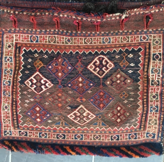 Early 20th century Bakhtiari/Luri complete soumakh technique khorjin/saddlebag. Beautiful example. Complete.  96 cm x 61 cm.