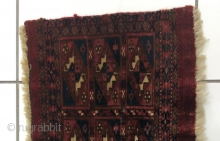Antique Tekke Mafrash. 35 cm x 65 cm. Some small patched repair (see top edge). Nice piece with some silk.