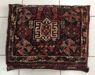 Khamse bagface. Early 20th c. Made into cushion but in good condition. 63cm x 56cm