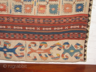 """Antique, embroidered and warpfloat, Lakai gajari. (Check that caravan!  Seen another?)  11 panels, Wool and silk. 8'4"""" x 4' 3"""",  255 cm x 130 cm.  Corroded lavender silk,  ..."""