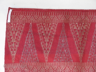 "Four, approximately 10""x21"", loom widths of hand woven silk and metal thread Songket panels. Thailand/Malaysia? Old. Two panels are joined selvedge edge to selvedge edge by machine sewing. All panels were hemmed.  ..."