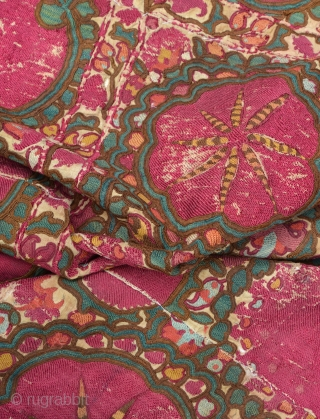 Antique 19th C. Uzbek Bukhara Suzani. Has silk loss as pictured.