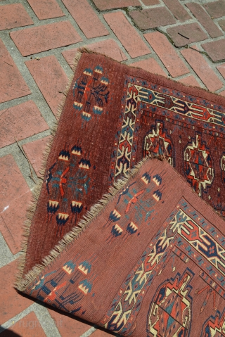 Early Yomud / Yomut Chuval 45.5 x 29.5 inches All original, good even pile, excellent colors, no repairs Sides fraying
