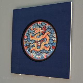 XIXth Century Chinese Imperial two-clawed Dragon Seal. Triple-framed in silk (blue, red, black). Kesi or Kossu silk and gold weave. Excellent colors and original condition. The two-clawed dragon seals are very rare  ...