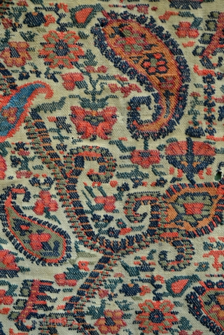 Early 1800s Persian Kirman 'Paisley' Boteh textile tapestry panel. 49 x 69 inches.