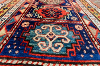 Antique Armenian 'Compartment' Kazak. All natural dyes and very soft wool. All original and zero repair.