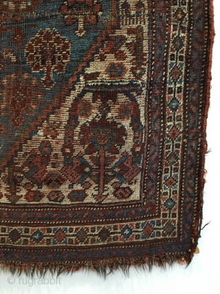 Small Qashqai Rug.  2nd Half 19th Century.   Original Selvage.  Small repaired slit bottom right field.  Note:  Fantastic creatures surround blue field.  Even wear.  Good  ...