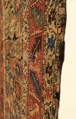 Early Kurd Long Rug.  3 x 12 Star Gol field.  Tribal Wall Art.  Remnants of original ends and goat hair selvage.  9 colors.  Cotton warp and wool  ...