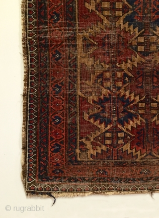 "Antique Baluch Rug, Northeastern Iran.  Mid 19th Century.  Ashik design on camel field.  Nice wall art.  Great condition for age.  7 colors.  4' 3"" x 2'  ..."