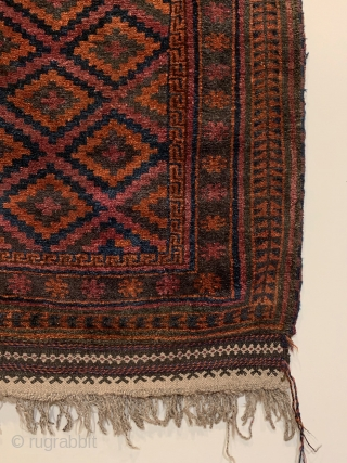 """Antique Taimani Prayer Rug. W. Afghanistan. 1st Quarter 20th Century. Purple lattice frame ascending stepped diamonds radiating upwards into mihrab (prayer arch). 4'6"""" x 3'1"""". 5 colors. Checkered 2 cord selvage. Lustrous  ..."""