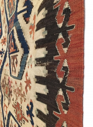 Antique Anatolian Aydin Kilim. 19th Century. This is a monumental, early white ground West Anatolian (Aydin Region) kilim exhibiting saturated vegetable colors with bold drawings. In the heart of the kilim, stand  ...