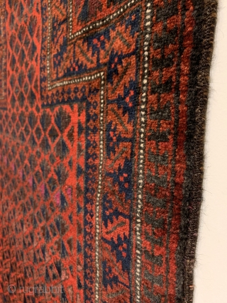 """Baluch Prayer Rug. North East Persia. 20th Century. Willow leaf trees, quilted diamonds, and Ashik gols intwine and radiate upward into prayer niche. Excellent condition with full pile. 7 colors. 4'3"""" x  ..."""