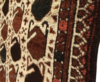 Antique Ersari Beshir Khali Rug. Late 19th Century. Colorful botehs float on white ground field. Full pile. Excellent condition. 2'3 x 4'4. 6 colors. Carefully hand washed. Ready for your floor or  ...