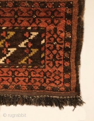 "Antique Central Asian Bagface.  Mint condition with lustrous pile.  Original sides.  5 colors.  1'6"" x 1'9"".  Delicately hand washed."