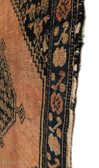 Antique Senneh Small Rug. Late 19th Century. Classic design. Even wear with slight loss to top and bottom. 4 colors. 2'0 x 3'2. Delicately hand washed.