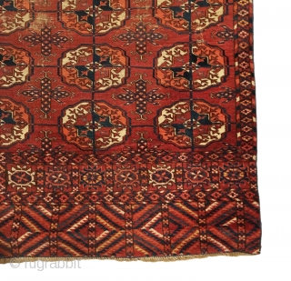 Antique Tekke Small Main Carpet. Mid 19th Century. 4 x 9 gul pattern. Extremely fine weave with piled rhombus elems containing light yellow. 7 colors. 3'0 x 4'11. Carefully hand washed.