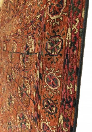 Antique Tekke Small (Wedding) Rug. Last Quarter 19th Century. Chemche Secondary Gols.  Deep green. Great Condition for age. Older than most. 7 colors. 3'2 x 3'9. Carefully hand washed.