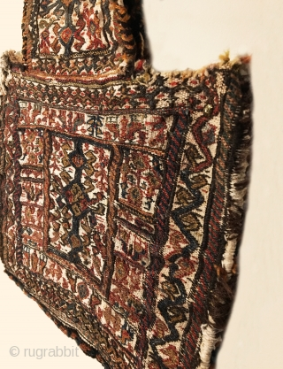 Antique Bakhtiari Salt Bag.  Circa 1900.  Ivory field.  Opposing bird head border encloses paired bird main border.  Central bird tree totem.  Fine weave.  All original sides.  ...
