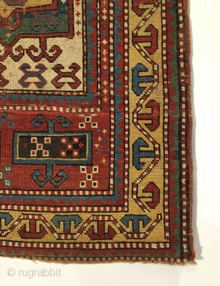 Early Tribal Kazak Prayer Rug. Inscribed Date 1261 = Circa 1845. Very good condition considering age with even wear. No repairs. 7 saturated colors. 2'2 x 3'11. Delicately hand washed.