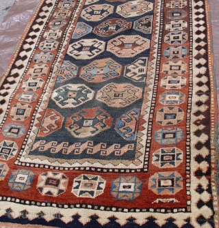 "Antique Kurdish 3'1"" X 8'5"", 100% wool pile& foundation, wonderful condition,circa 1880's"