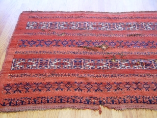 "Antique Turkmen or Central Asian 3'3"" X 6'2"" circa 1860 or earlier, very soft wool and beautiful colors , has some holes."