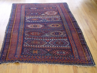 An antique Kurdish rug size 4' X 5'8