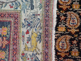 "4'7"" X 6'2"" Antique Persian Farahan, gorgeous boteh or paisley design, beautiful main border with images of birds, trees, and animals, fantastic colors, wonderful condition with respect to its age, ends and  ..."