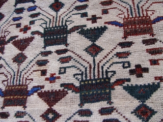 """Antique Baluch rug ,circa 1870's,  3'6"""" X 6'10"""" ft. (106 x 209 cm) 100% wool and vegetable dyes."""