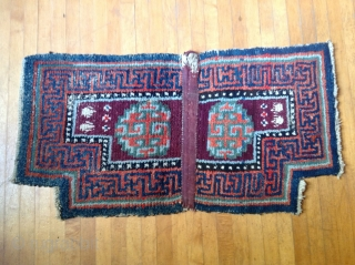 Tibetan Warp-faced back ( wang-den ) saddle carpet. 