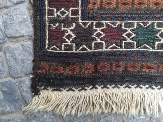 "Baluch kilim, around 1900, 368 x 126 cm, 12'1"" x 4'2"""