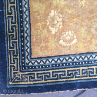 very nice ningxia carpet, all patterns are visible and still in pile. the color of the field is largely worn. very soft handle, original kelim ends, some very little old repairs in  ...