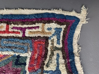 Extremely unusual and funky embroidery from Tibet. Could have been used in some way as a meditation mat or related religious rituals?  Endless  knot as the main motif, surrounded by  ...