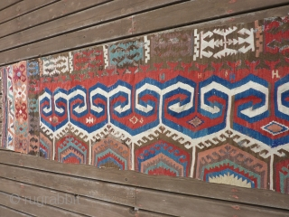 "Early part of 19th C Kona Kilim half.  13' 6"" x 34""  many old repairs but fairly complete. SOLD THANK YOU!"