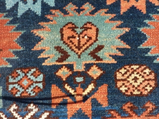 "SOLD! Northern Caucasian rug 19th C last quarter, bought from James Opie many years ago and hung on a wall.  Good pile with end loss as shown. 3'1"" x 5'1""   ..."