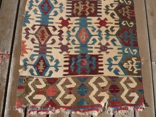 "Antique Anatolian kilim half 33"" x 11' 6"""