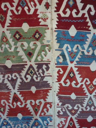 SOLD!   19TH Century Anatolian kilim half which has been cut in half by a previous owner, for easier display, and cleaned by Rbt. Mann (great job) who removed old glue  ...