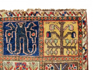 """Very old and antique Bakhtiari fragment, great and absolutely old example. size is 4'-4""""x3'-5""""."""