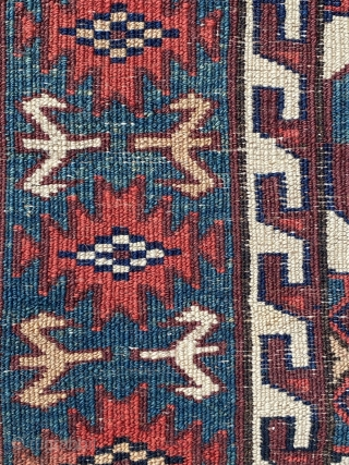 Antique Yomut Asmalyk  (cotton weft highlights ) mid 19th century or earlier, 2 places are repaired. Size is 123 x 77 cm