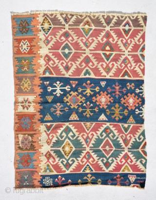 Anatolian Kilim fragment properly mid 19th century size is 105 x 78 cm