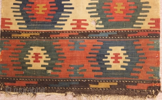 Antique shahsavan kilim mafrash side panel. 0,55x0,56cm 1'8x1'8feet
