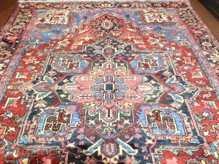 antique heriz carpet cm 3.50 x 2.55   good  condition