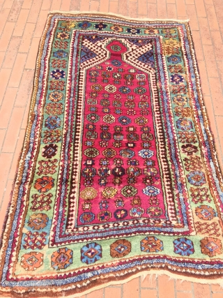 ANATOLIAN  KONYA CIHANBEYLI PRAYER  RUG  FULL PILE NATURAL  COLORS old restorations in borders  CM 1.70 X 1.09  1880  CIRCA