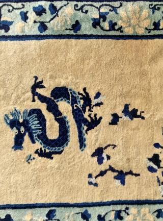 antique  Chinese peking dragon  Rug  cm 1,40 x 090  circa 1910  full pile good  condition