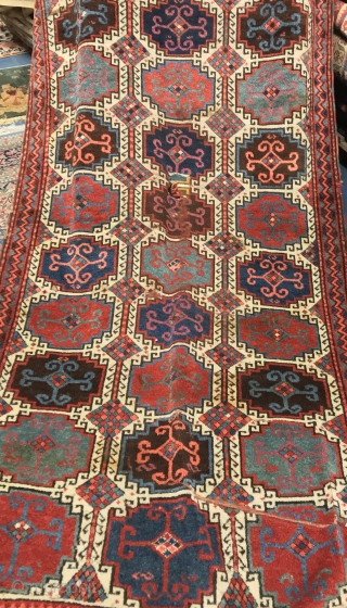 EST ANATOLIAN ANTIQUE RUG CM 2.65 X 1.22  1850 CIRCA NATURAL COLORS SOFT WOOL  FINE QUALITY AND FULL PILE