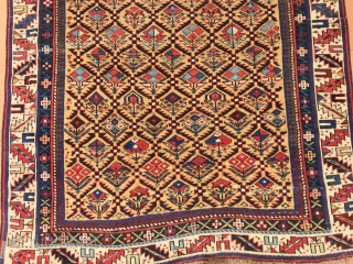 ANTIQUE CAUCASIAN SIRVAN PRAYER  RUG  SILK  END WOOL  CM 1.36 X 1.08  1850 CIRCA
