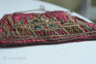 Lovely antique Ottoman silk embroidered purse with mosque motif.