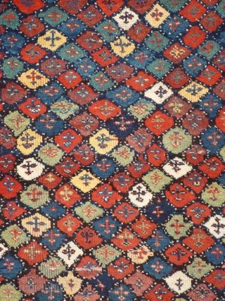 # 844 Fantastic Kordi rug, 156/206 cm, Khorasan, Northeast Persia, ca. 1900, good condition with traces of wear, free interpretation of a typical Kordi motif (cf. Stanzer, Kordi...), first class natural colours,  ...